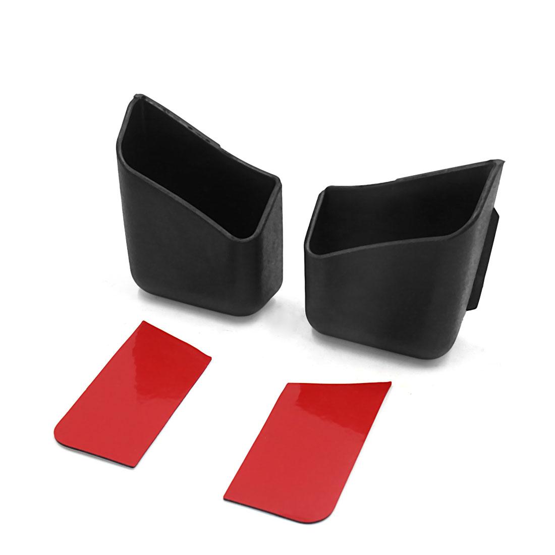 2Pcs Plastic Adhesive Car Storage Box Phone Charge Bag Holder Organizer Black