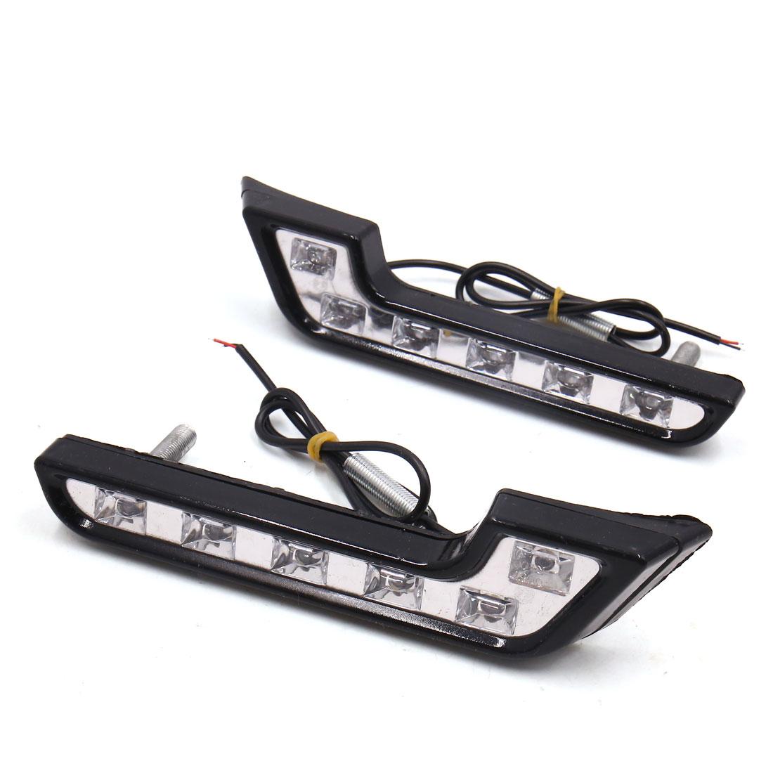 2 Pcs 7 Shaped White Light 12 LED Daytime Driving Running Lamp for Auto Car