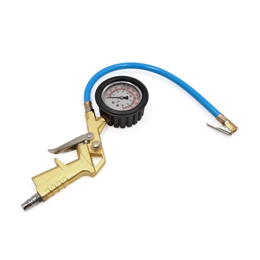 0-230Psi 0-16Bar Car Motorcycle Tire Inflator Gun Round Dial Air Pressure Gauge