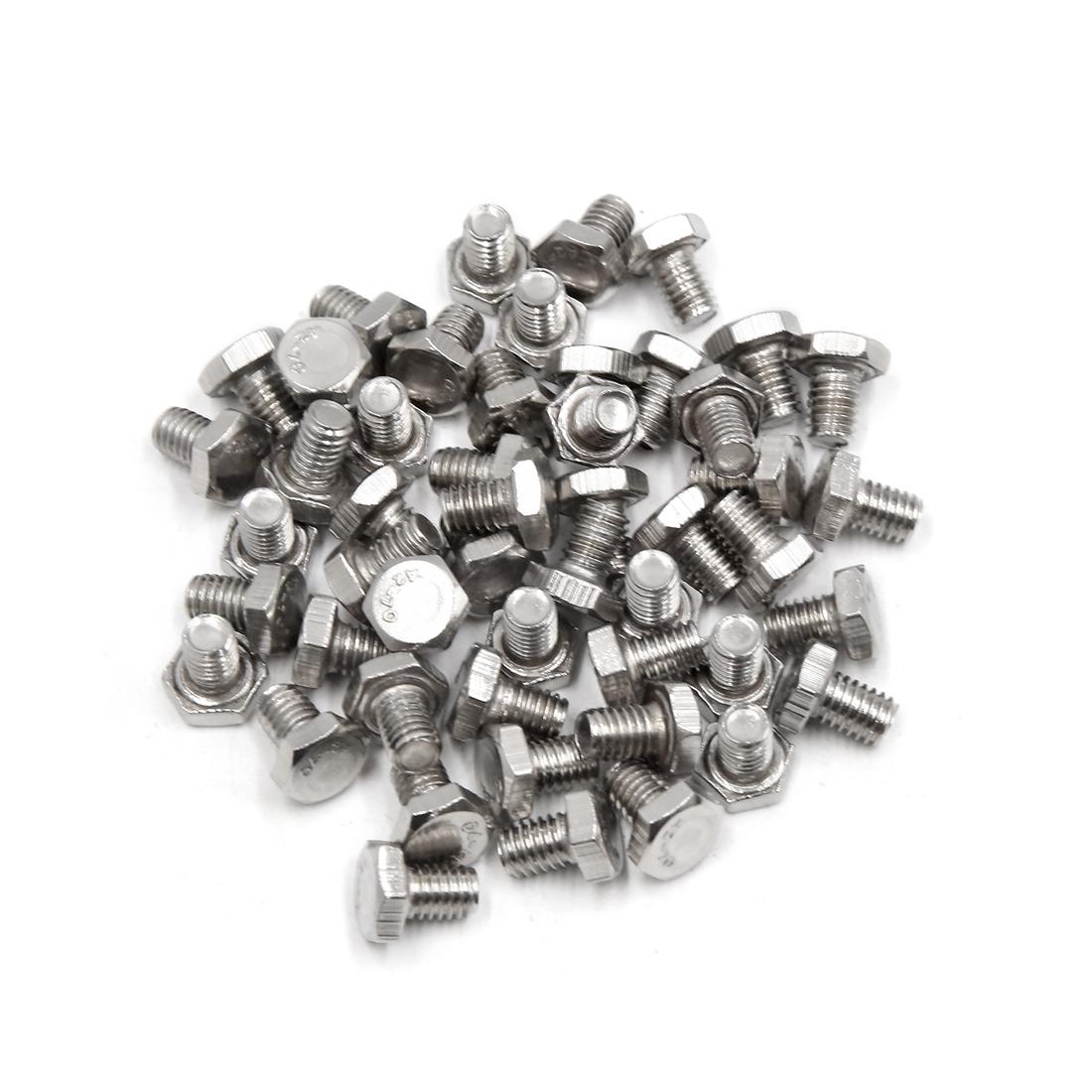 50Pcs M6 x 8mm 304 Stainless Steel Motorcycle Hex Socket Head Cap Screws Bolts