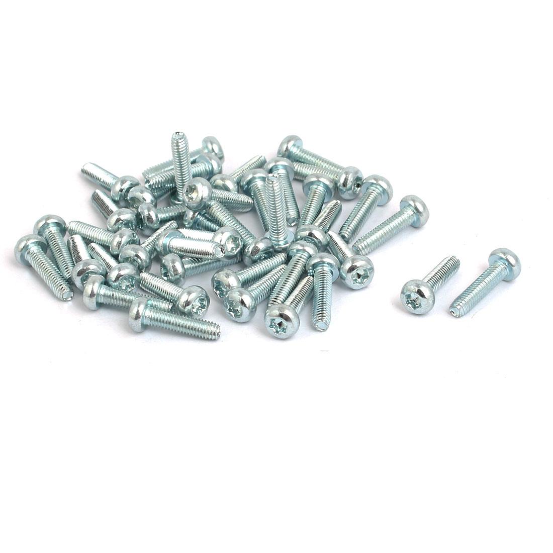 M3x12mm Pan Head Torx Socket Triangle Thread Screw Bolt Silver Tone 40pcs