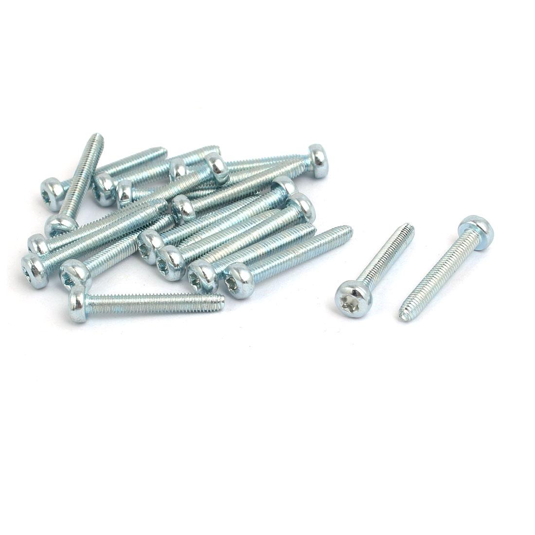 M3x20mm Pan Head Torx Socket Triangle Thread Screw Bolt Silver Tone 20pcs