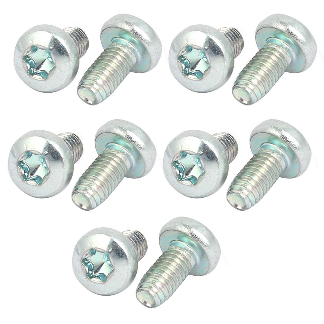 M6x12mm Pan Head Torx Socket Triangle Thread Screw Bolt Silver Tone 10pcs