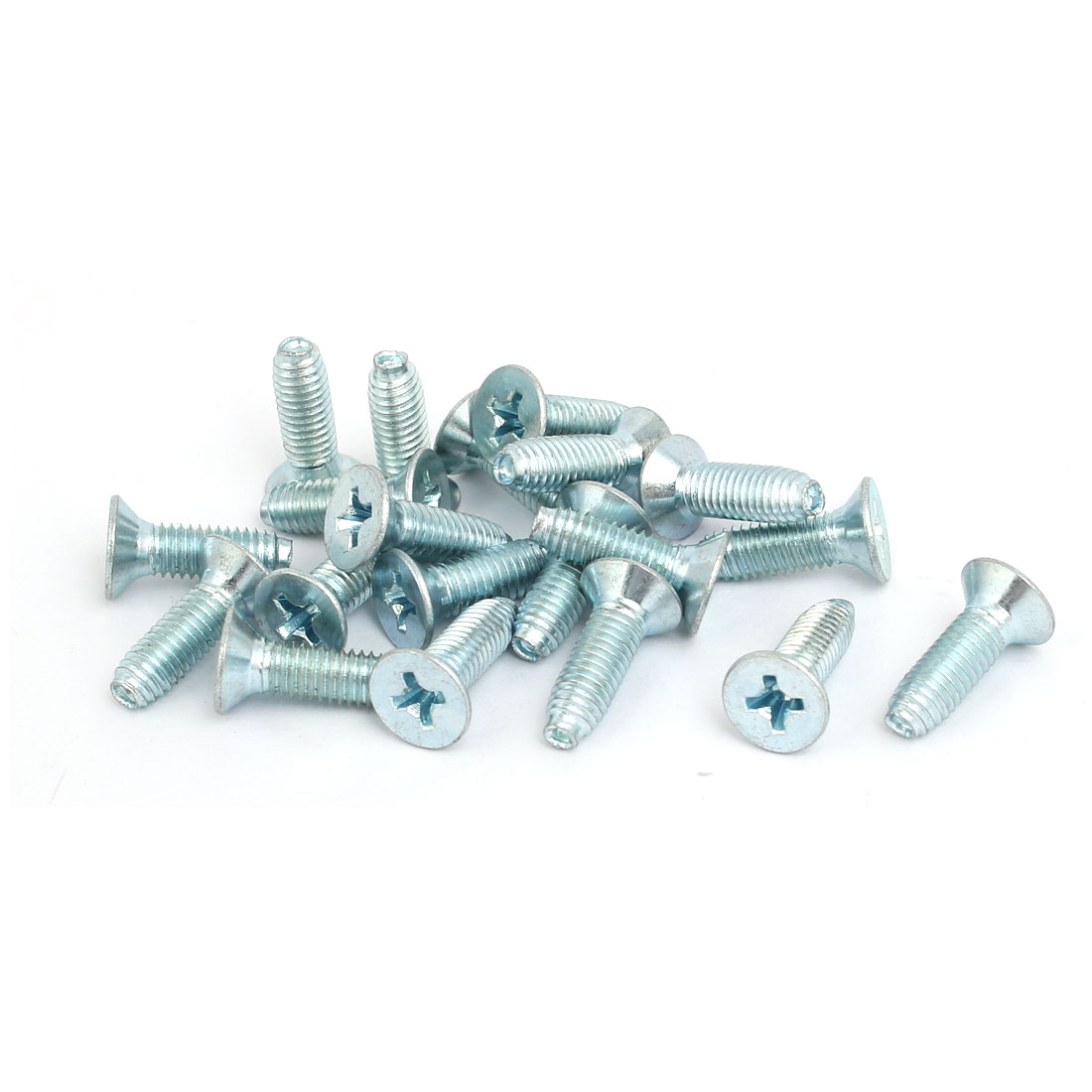 M5x16mm Countersunk Phillips Head Triangle Thread Screw Bolt Silver Blue 20pcs