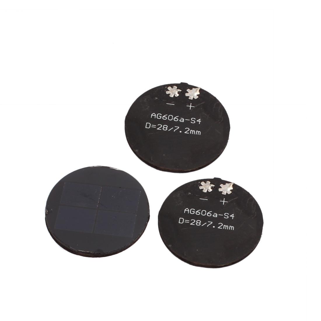 3 Pcs 28mm Diameter 2V 30mA Round Monocrystalline Silicon N Type Solar Panel