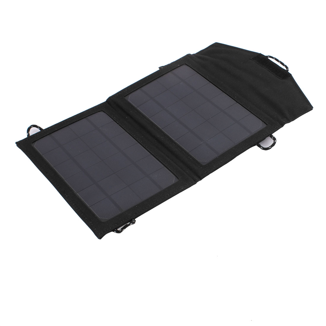 5W Monocrystalline One Ports USB Foldable Portable Solar Panel Charger Black