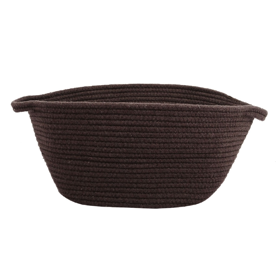 Foldable Storage Bin Closet Box Cotton Rope Baskets (Coffee Color,Oval)