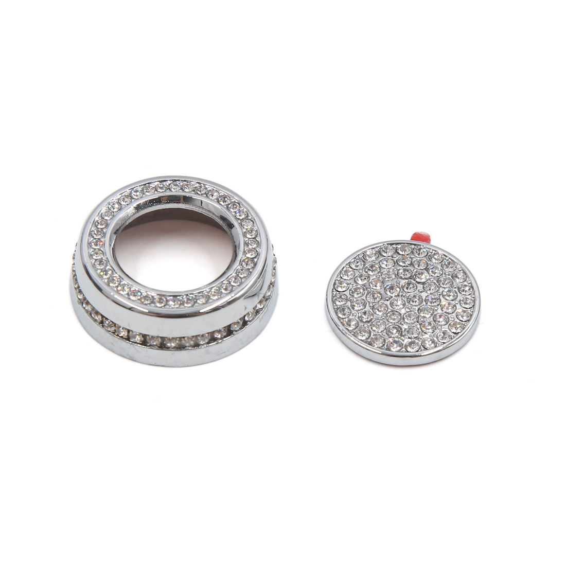 2Pcs Silver Tone Car Air Condition Start Button Decorative Ring for Juguar