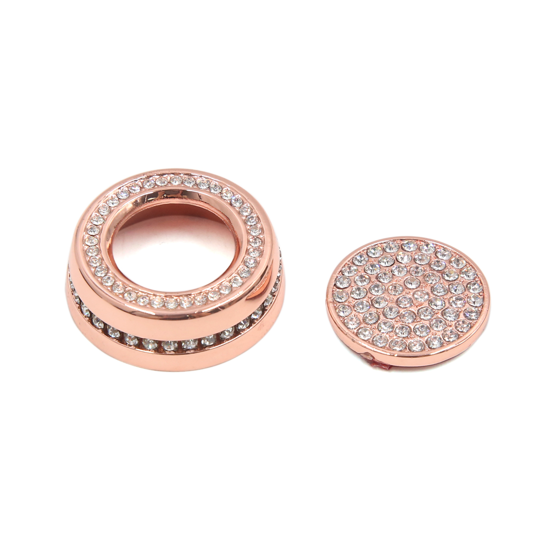 2Pcs Rose Gold Tone Car Air Condition Start Button Decorative Ring for Juguar