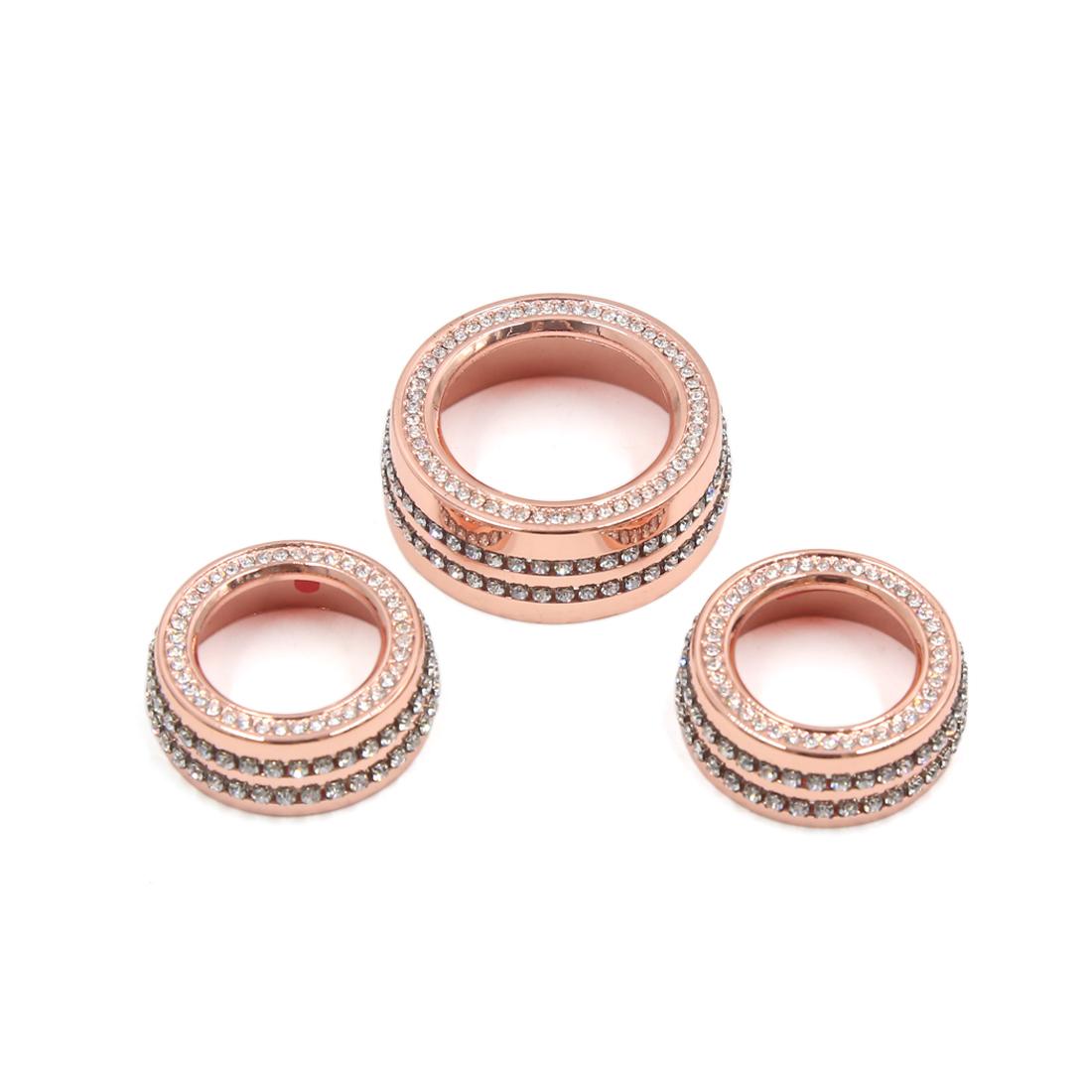 3Pcs Rose Gold Tone Faux Diamond Car Air Condition Button Decor Ring for Jaguar