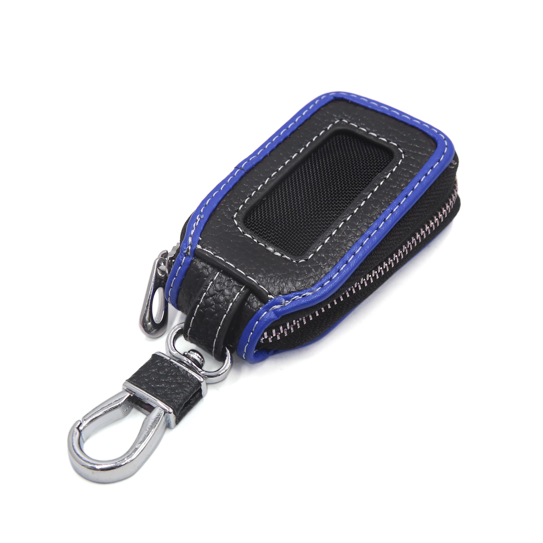 Blue Black Faux Leather Window Design Key Coin Storage Holder Zipper Bag for Car