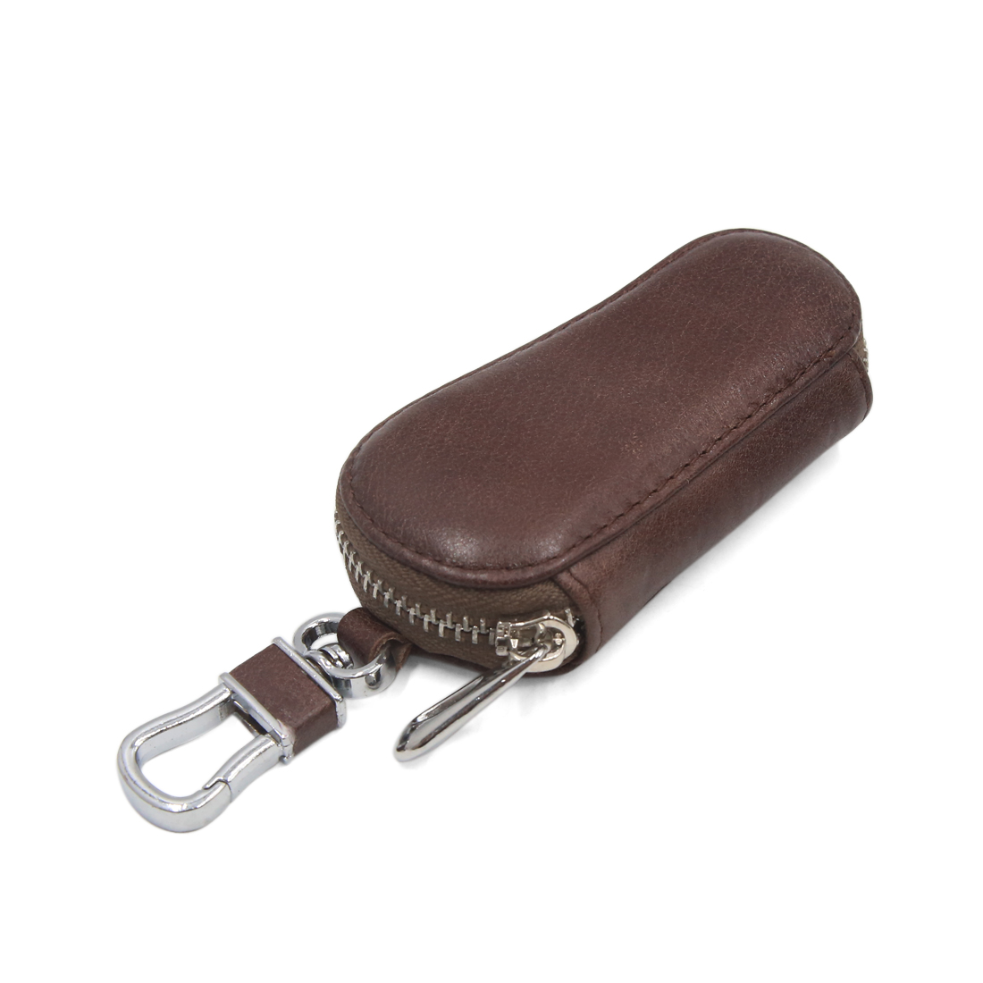 Brown Faux Leather Car Spring Loaded Clasp Key Coin Storage Holder Zipper Bag