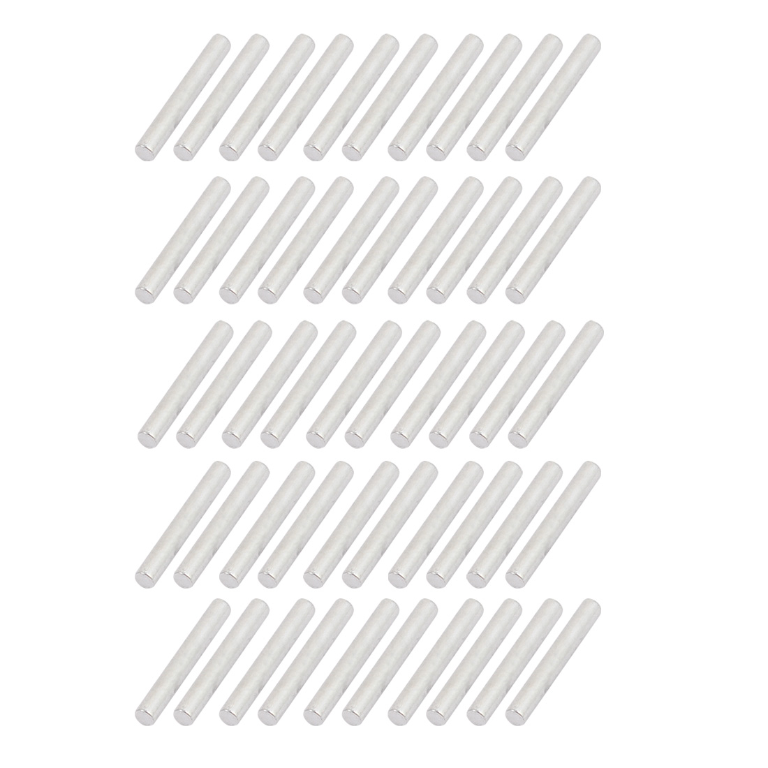 50Pcs Round Shaft Solid Steel Rods Axles 2mm x 15mm Silver Tone