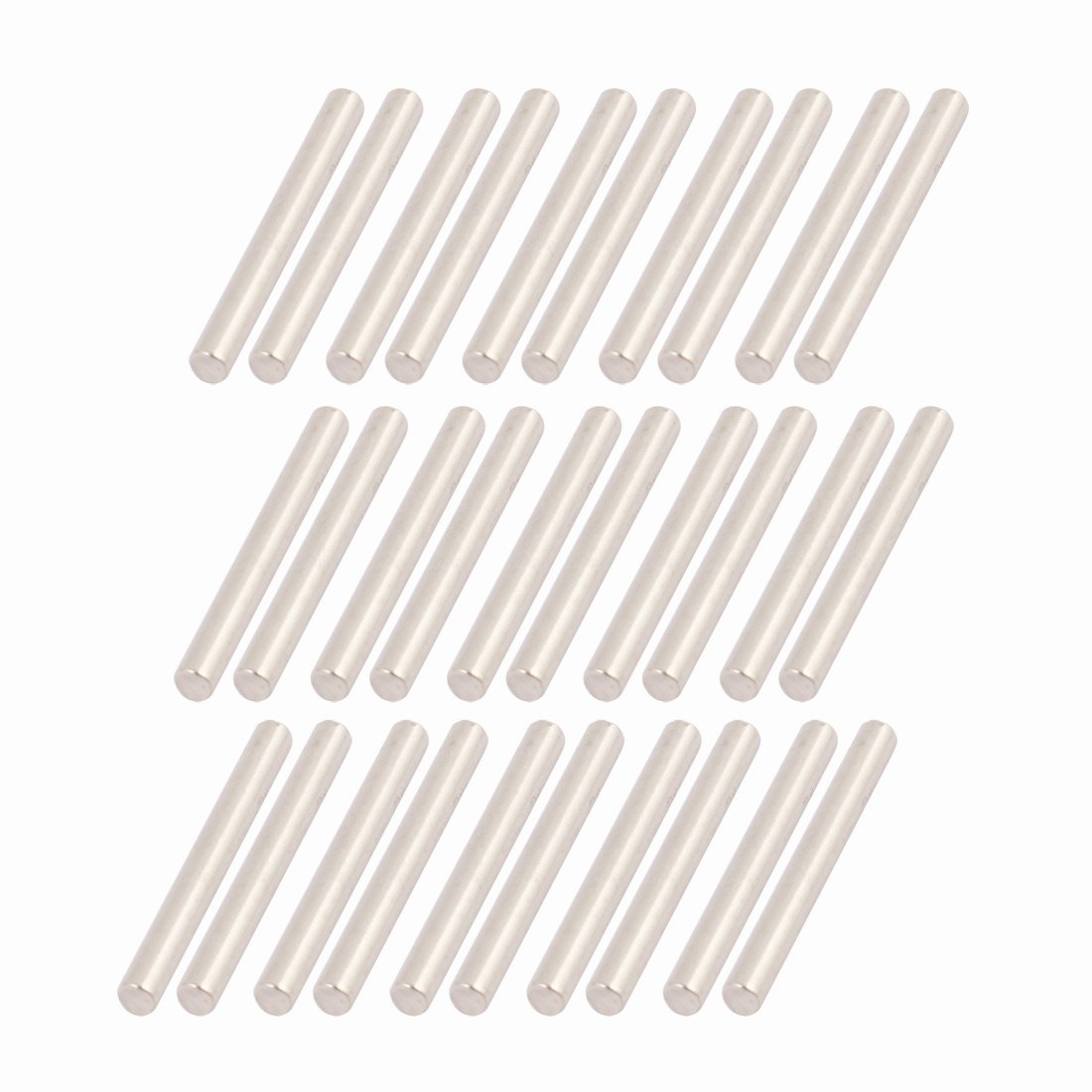30Pcs Round Shaft Solid Steel Rods Axles 2.5mm x 22mm Silver Tone