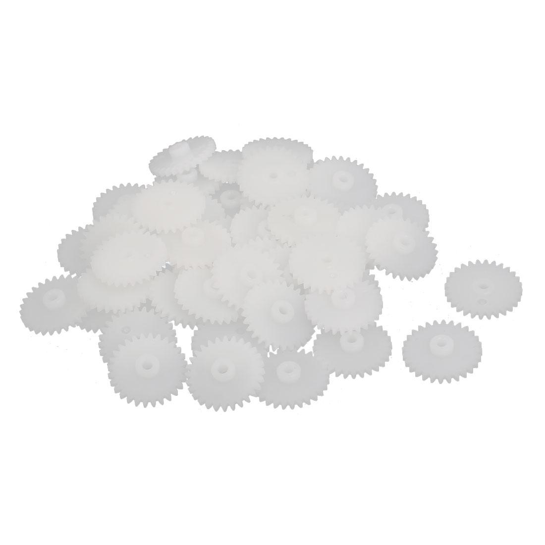 50PCS 28 Teeth 2mm Hole Dia Plastic Gear Wheel White for RC Car
