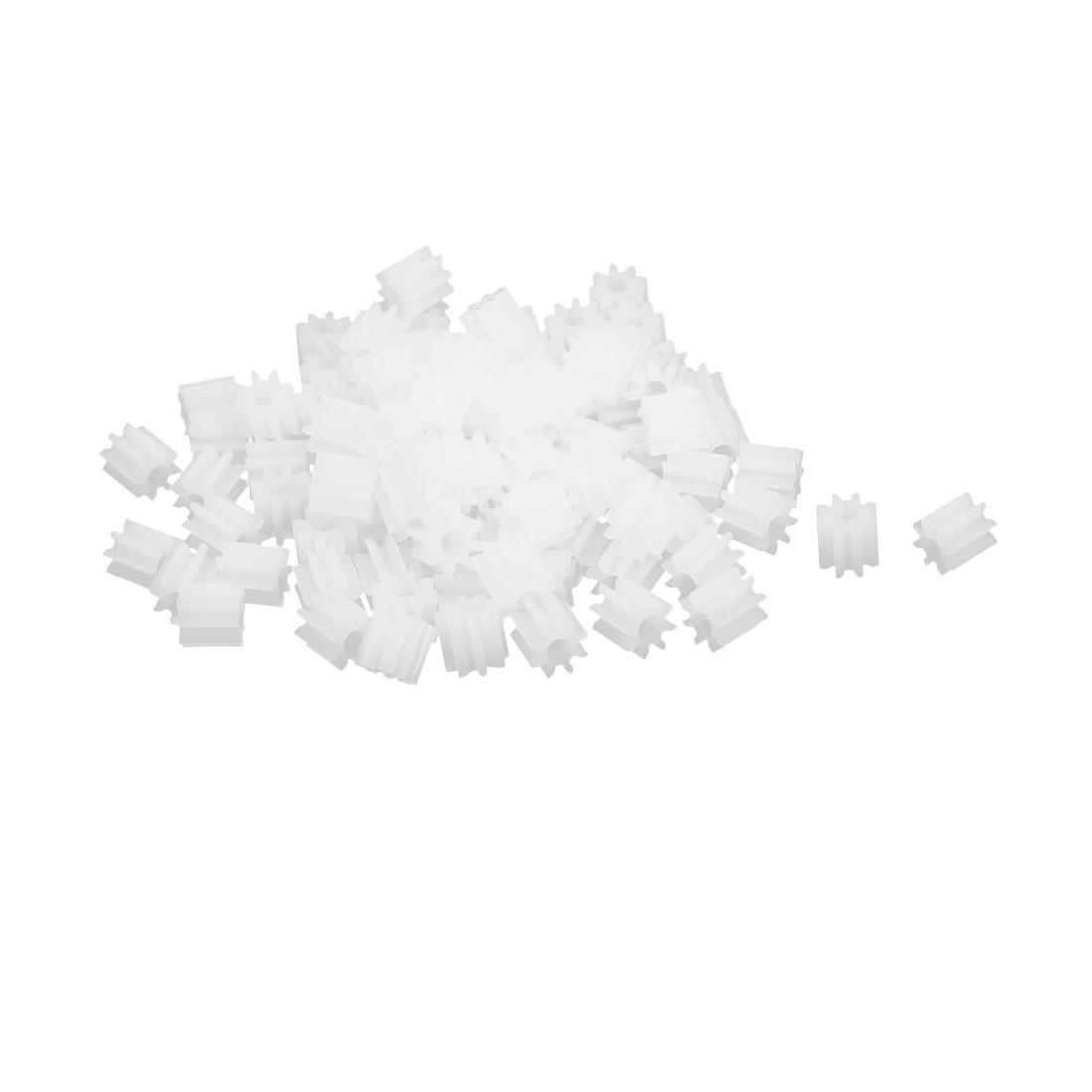 100pcs 8 Teeth 5mm Dia Plastic Gear Wheel for Car Motor Shaft
