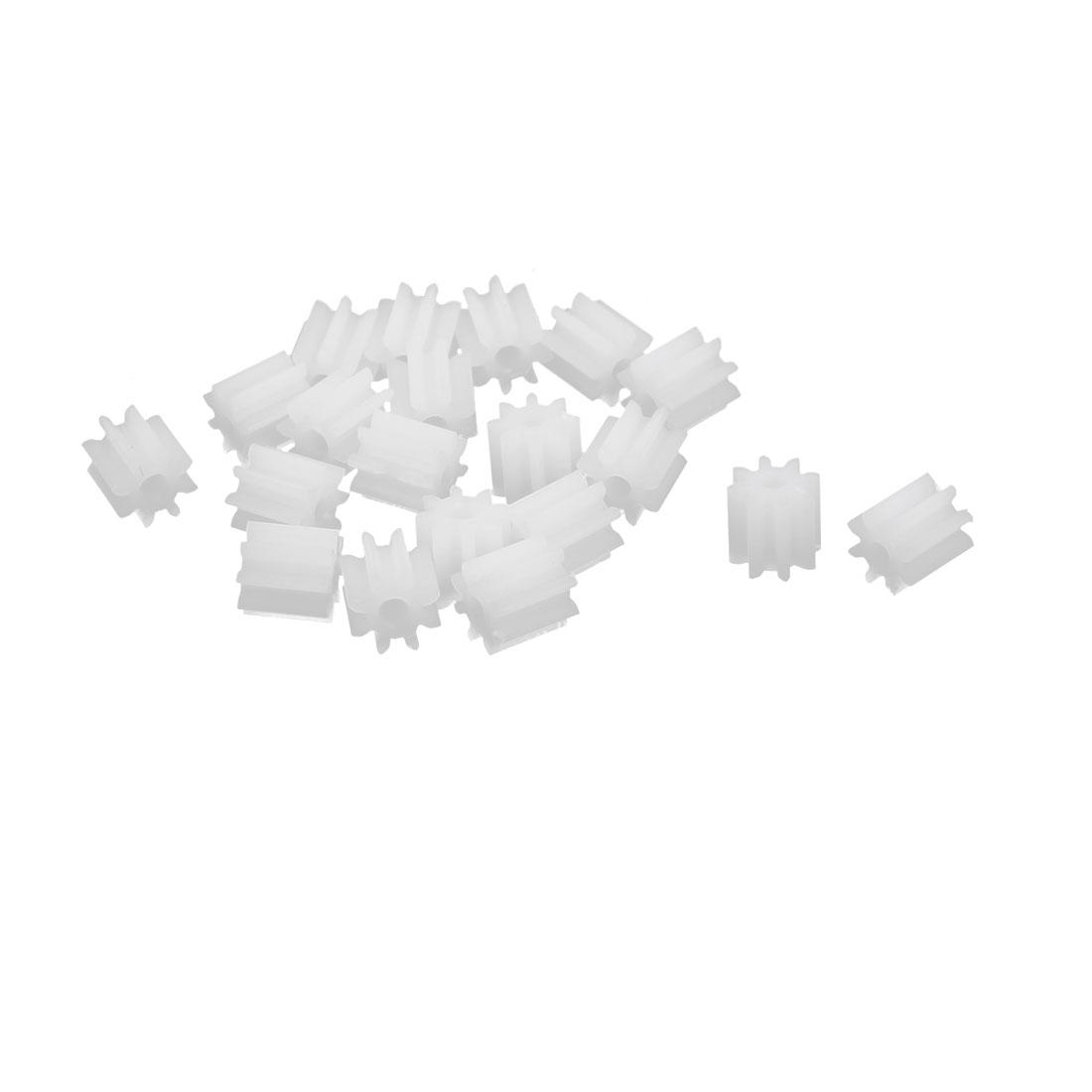 20pcs 8 Teeth 1.45mm Hole Dia Plastic Gear Wheel for Toy Car Motor Shaft