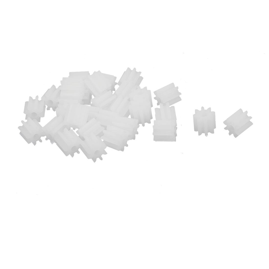 30pcs 8 Teeth 1.45mm Hole Dia Plastic Gear Wheel for Car Motor Shaft