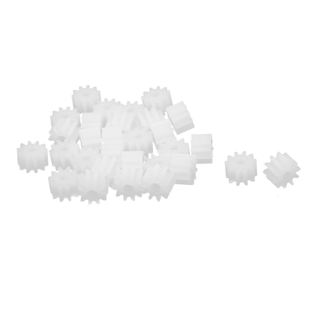 30pcs 10 Teeth 1.95mm Hole Dia Plastic Gear Wheel for Toy Car Motor Shaft