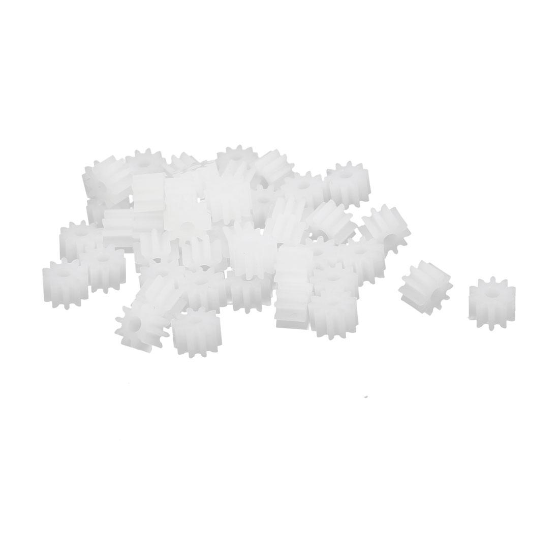 50pcs 10 Teeth 1.95mm Hole Dia Plastic Gear Wheel for Toy Car Motor Shaft