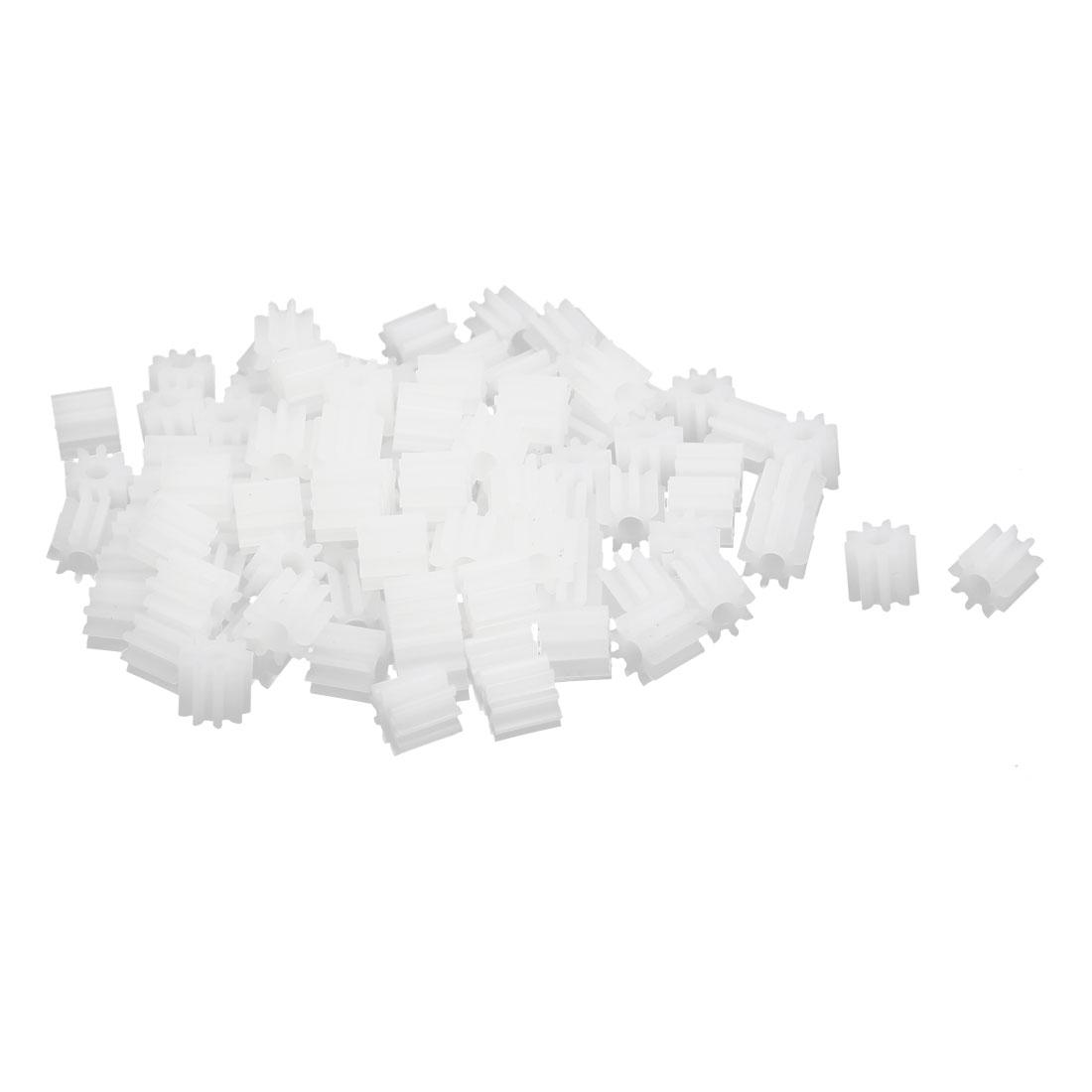 100pcs 9 Teeth 1.95mm Hole Dia Plastic Gear Wheel for Car Motor Shaft
