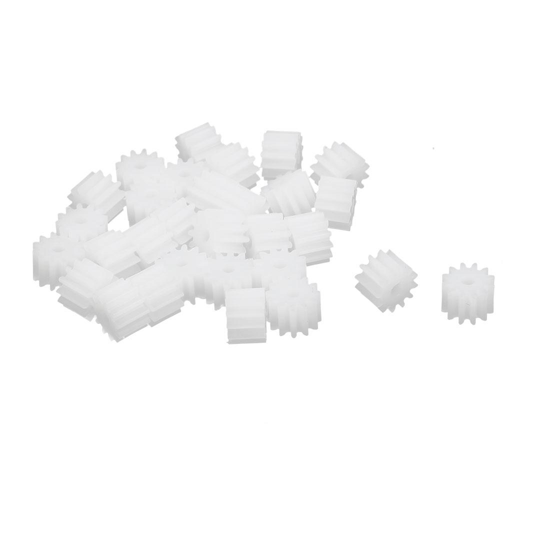 30pcs 12 Teeth 1.95mm Hole Dia Plastic Gear Wheel for Toy Car Motor Shaft