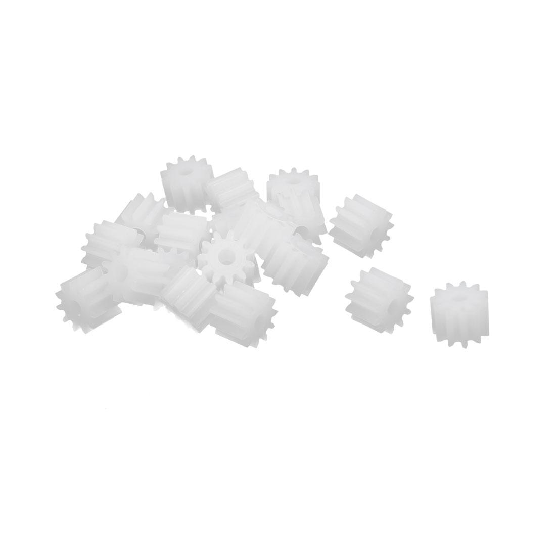 20pcs 11 Teeth 1.95mm Hole Dia Plastic Gear Wheel for Car Motor Shaft
