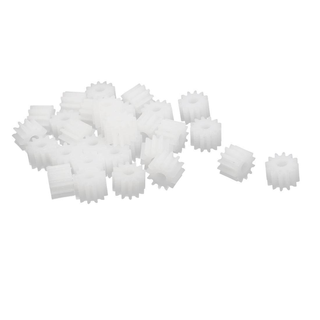 30pcs 12 Teeth 2.35mm Hole Dia Plastic Gear Wheel for Toy Car Motor Shaft
