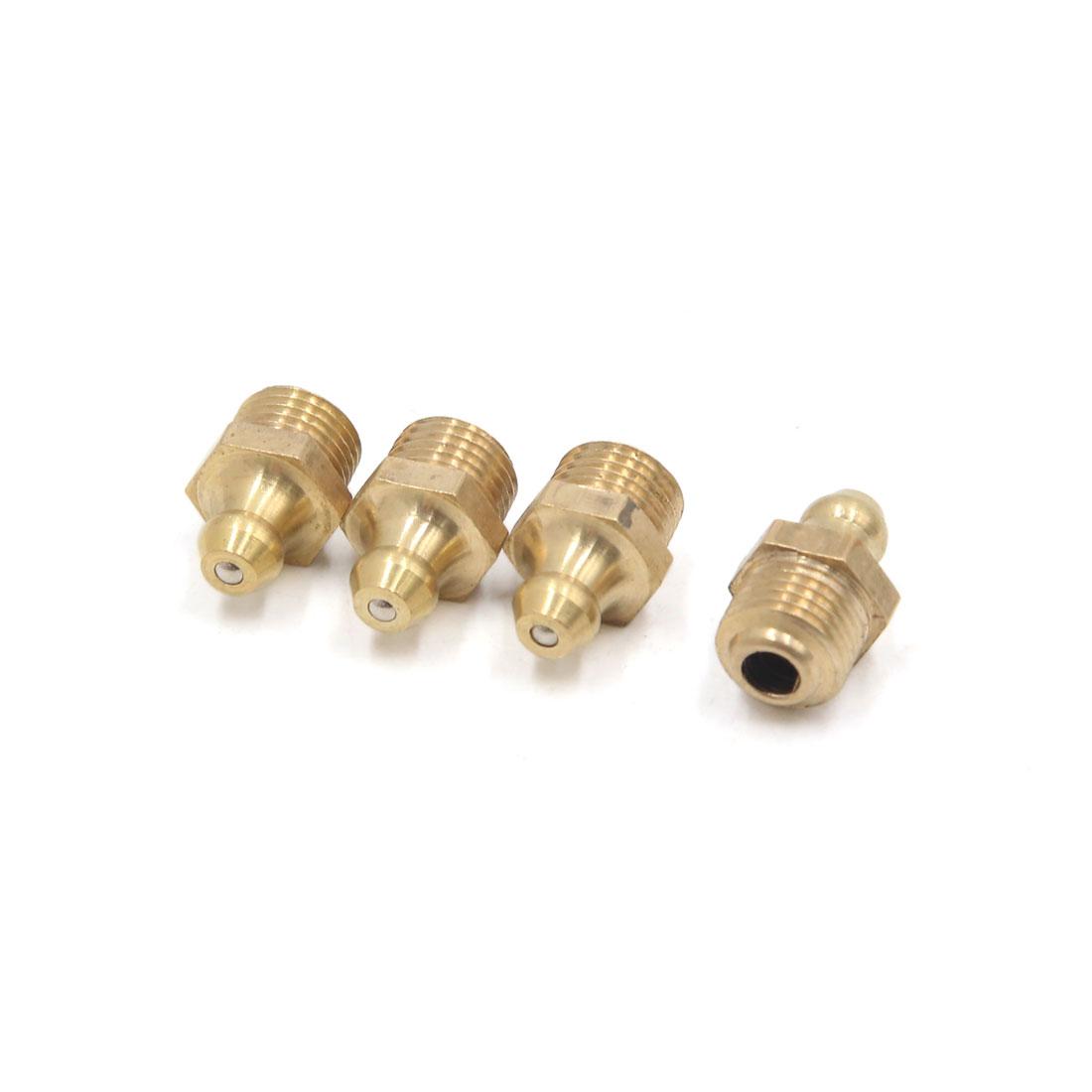4 Pcs Brass M10 x 1mm Thread Straight Grease Zerk Nipple Fitting for Car