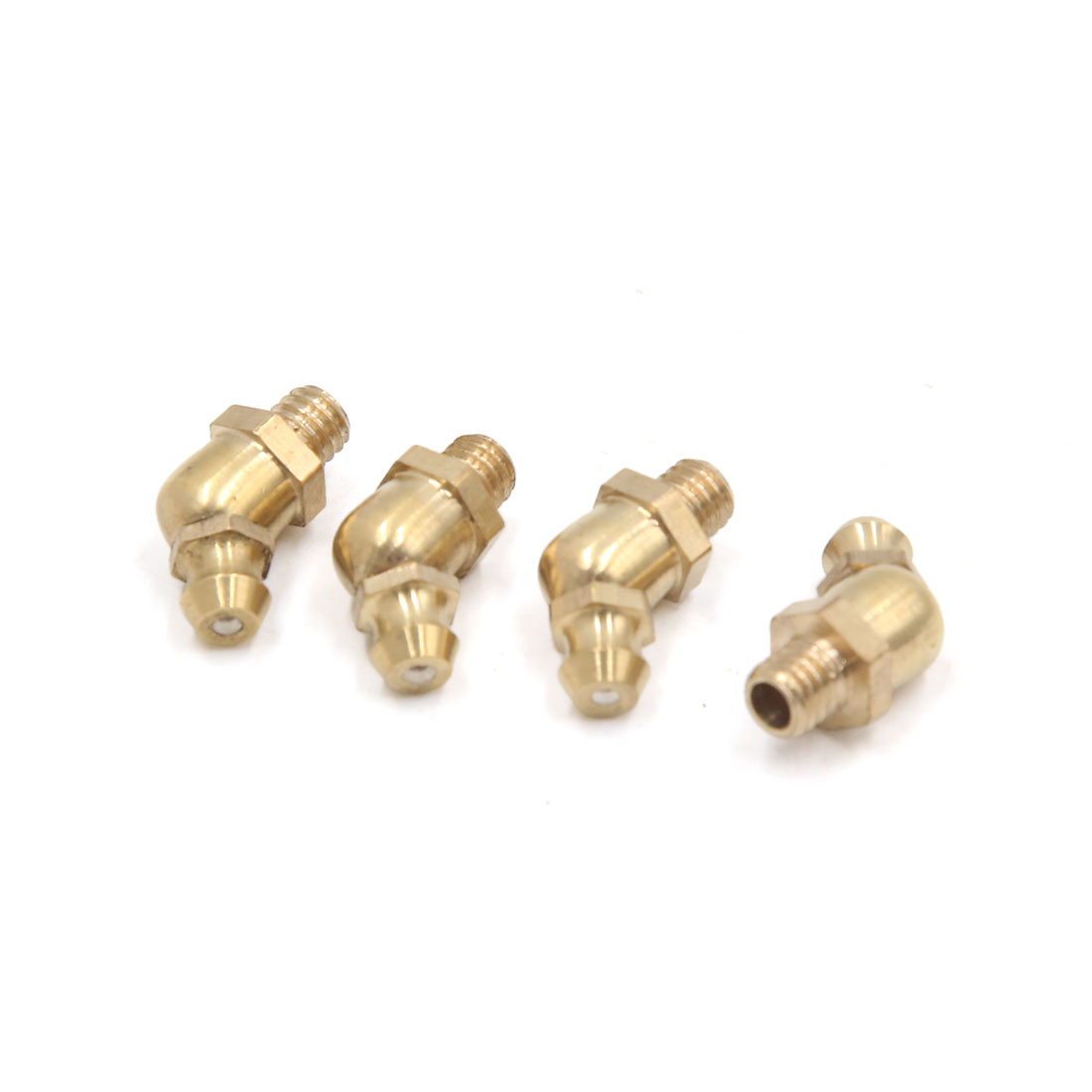 4 Pcs Brass M6 x 1mm Thread 45 Degree Angle Grease Zerk Nipple Fitting for Car