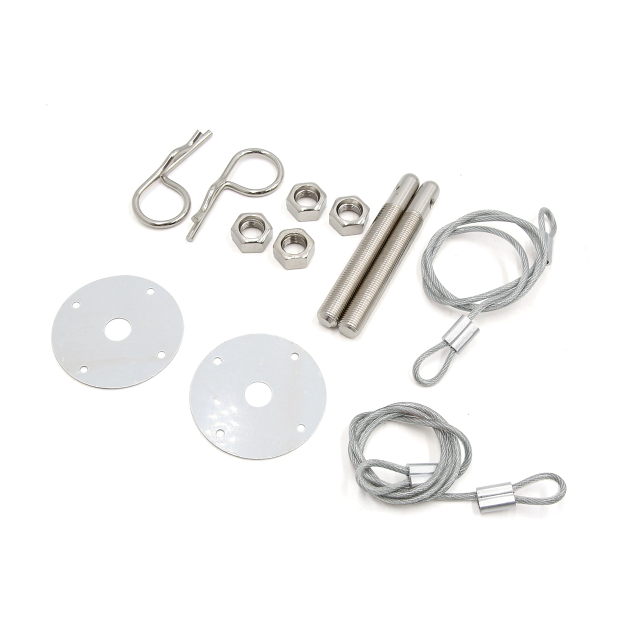 2 Pcs Racing Style Metal Mount Hood Pin Pins Plate Bonnet Lock Kit for Car