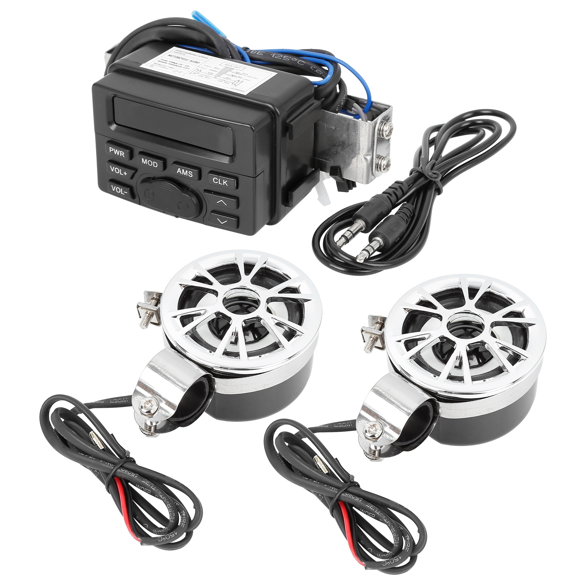 Motorcycle ATV Handlebar Audio FM Radio Stereo Amplifier Speaker MP3 Player Kit