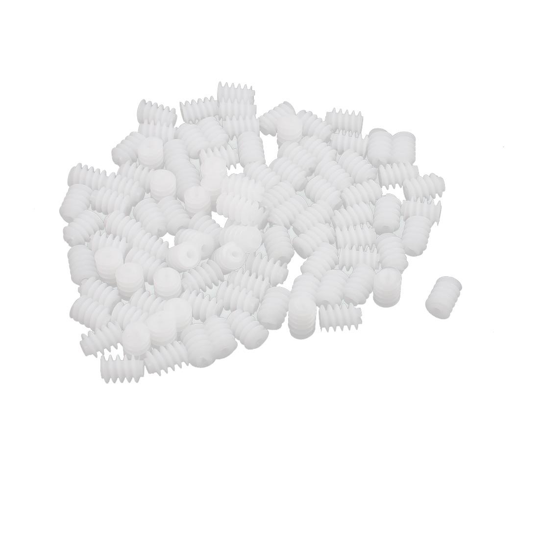 100PCS 9mm Length 6mm Thread Diameter Plastic Worm Gear Wheel for RC Toy Car