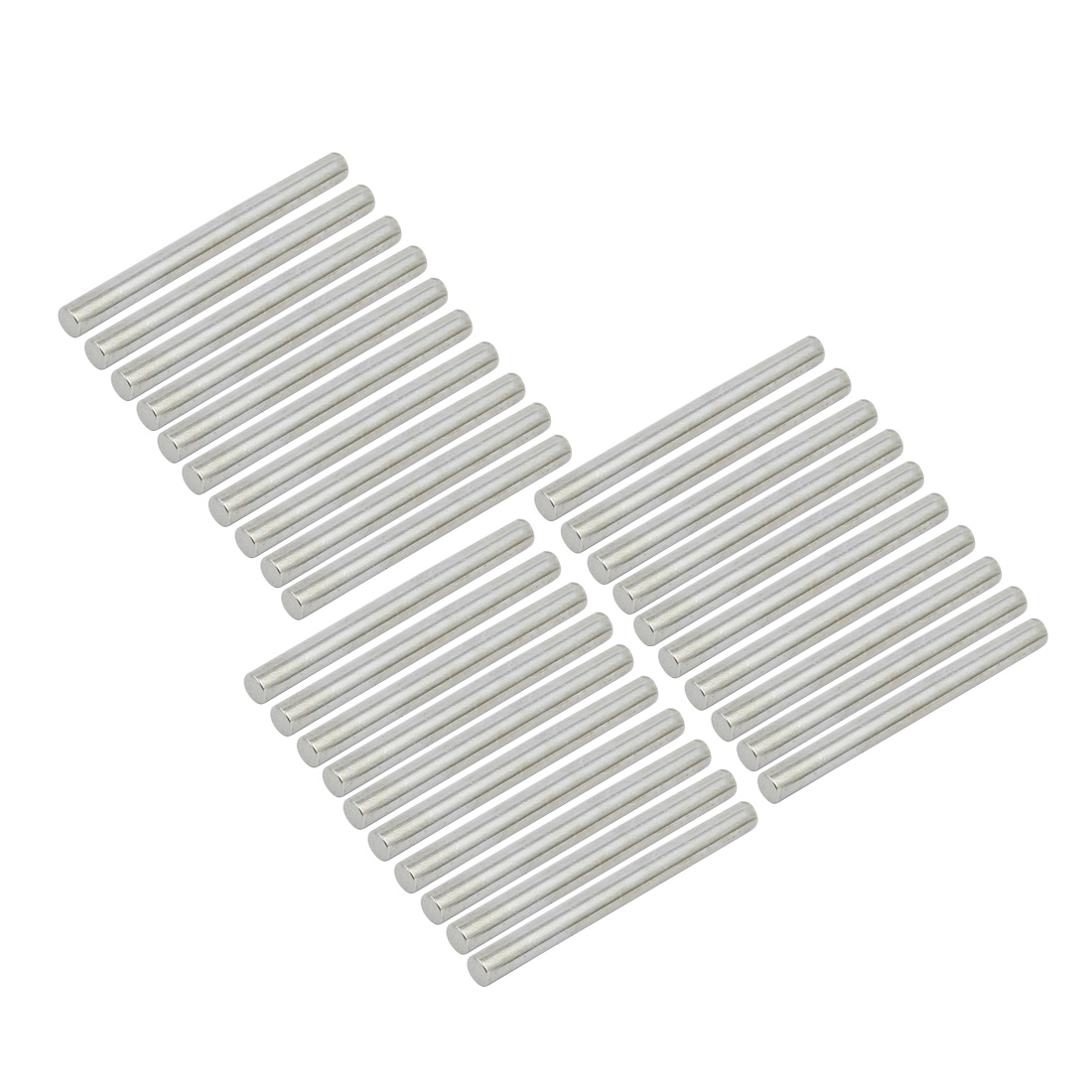 30Pcs Round Shaft Solid Steel Rods Axles 3mm x 34mm Silver Tone