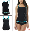 Women Tankini Set Two Pieces Swimsuits Bathing Suits Triangle Brief Blue White US 14