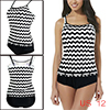 Women Tankini Set Two Pieces Swimsuits Zigzag Bathing Suits Triangle Brief US 12
