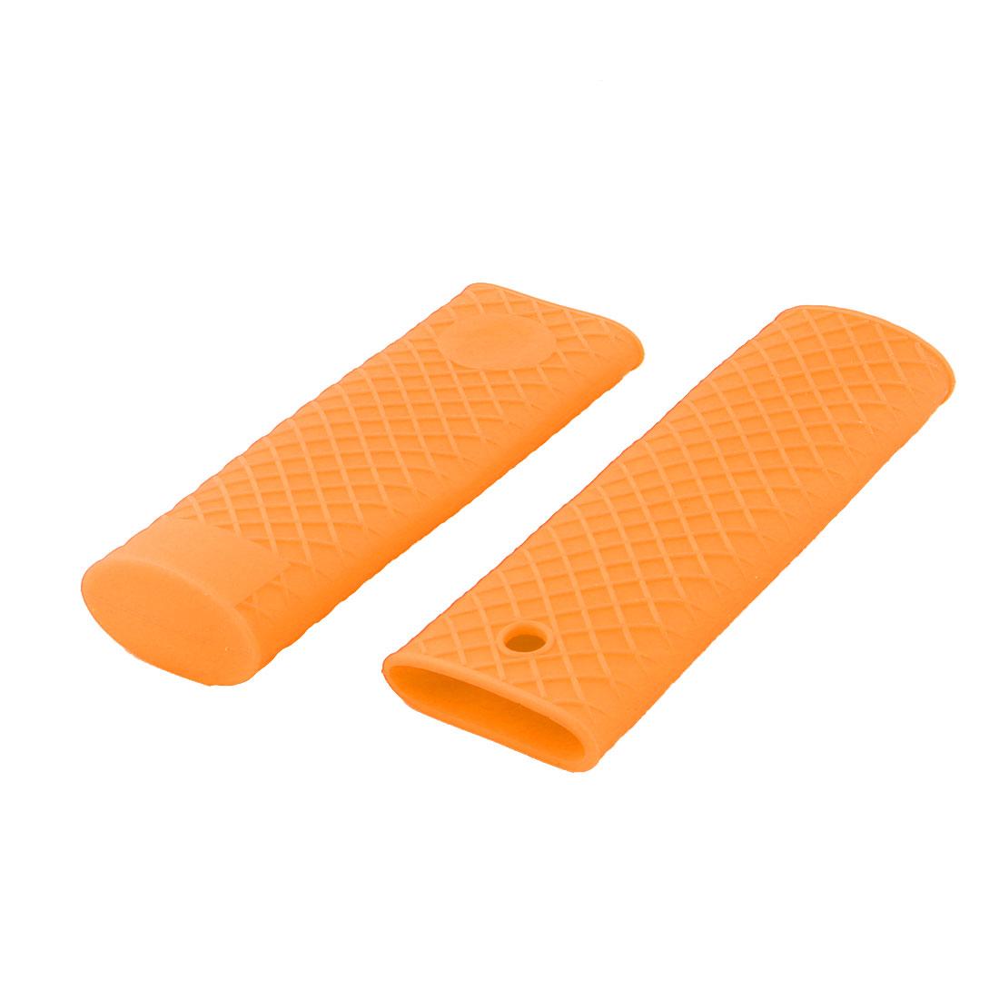 Home Silicone Heat Resistant Pot Pan Stockpot Handle Sleeve Cover Orange 2pcs