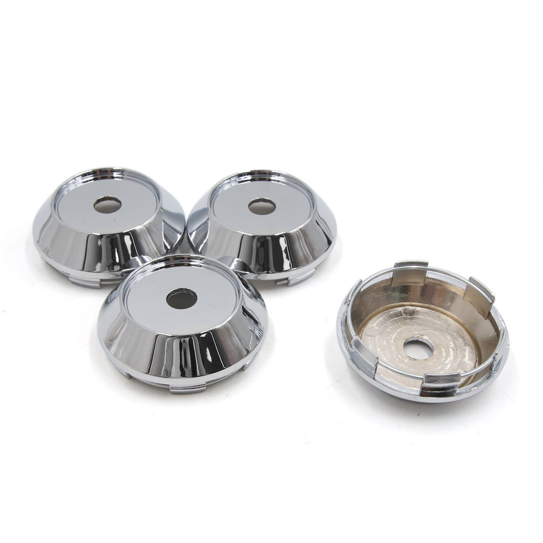 4 Pcs Silver Tone Chrome 68mm Dia 6 Lugs Car Wheel Rims Center Cap Hub Cover
