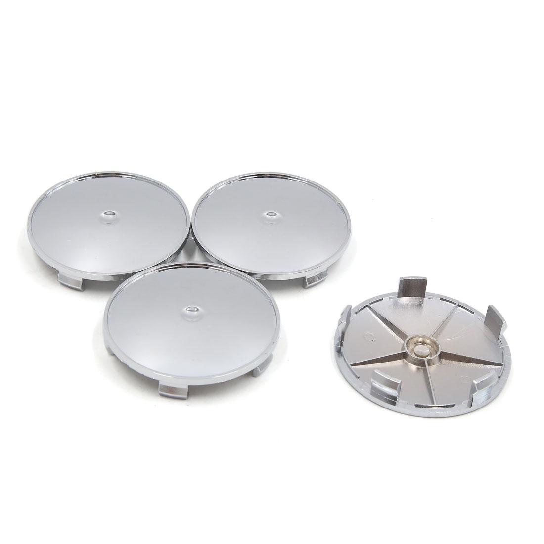 4 Pcs Silver Tone Chrome 68mm Dia 5 Lugs Wheel Center Cap Hub Cover for Car