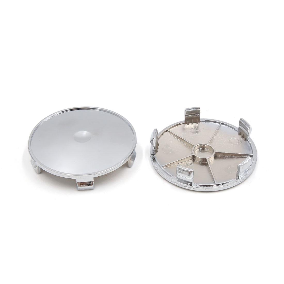 2 Pcs Silver Tone Chrome 68mm Dia 5 Lugs Car Wheel Rims Center Cap Hub Cover