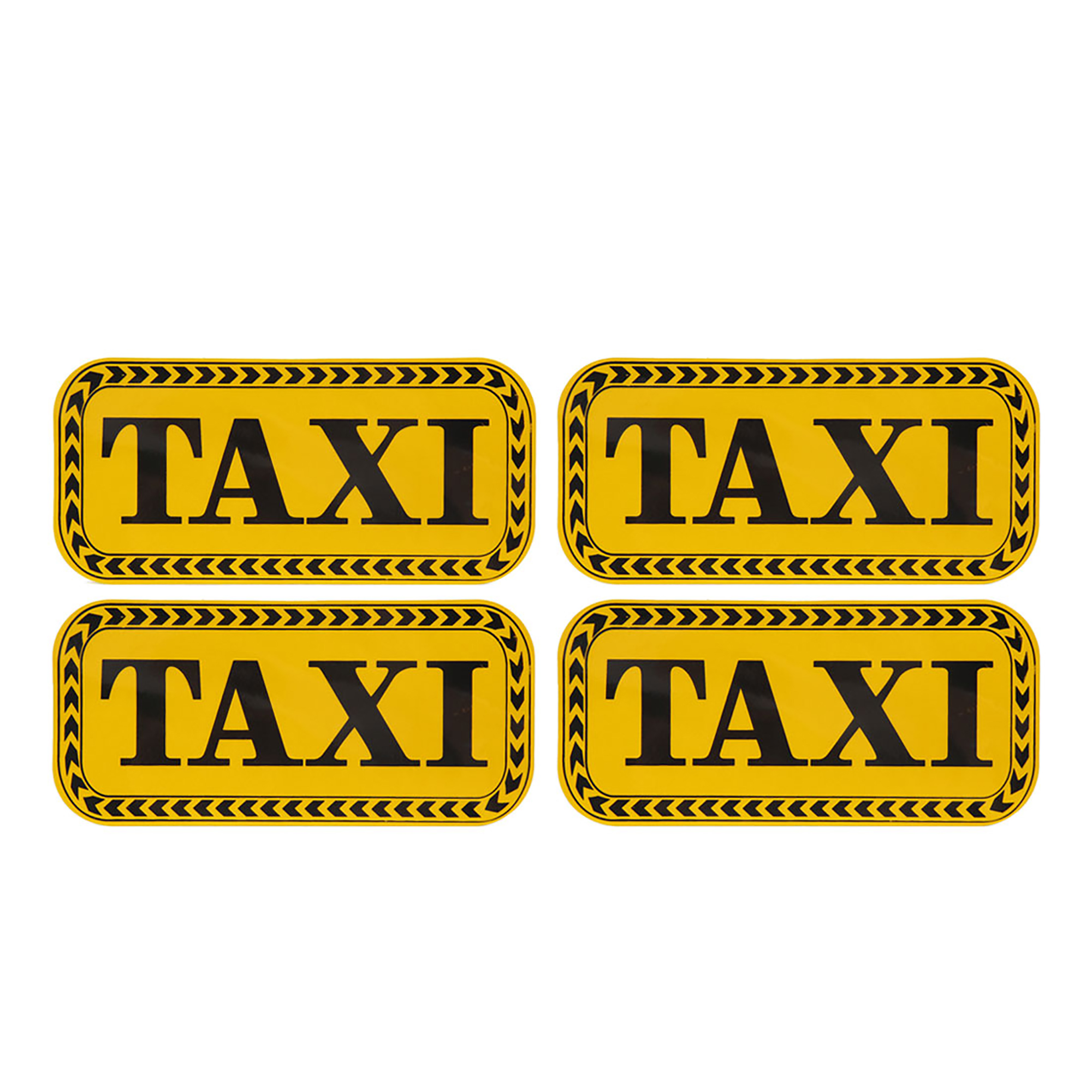 4Pcs Yellow Black TAXI Pattern Reflective Self Adhesive Car Sticker Decors
