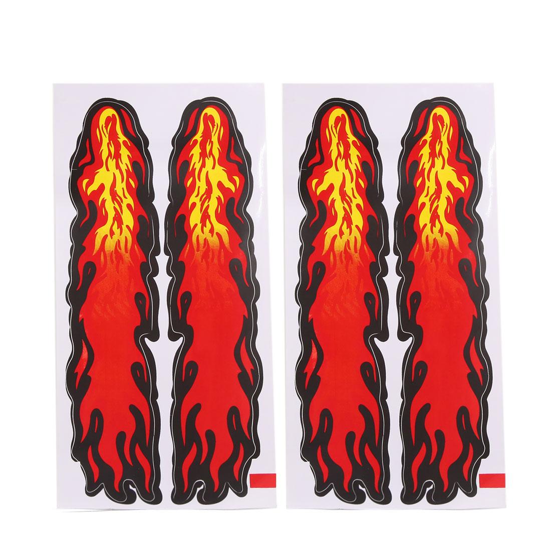 4 Pcs Flame Pattern Self Adhesive Auto Car Decorative Stickers Exterior Decors