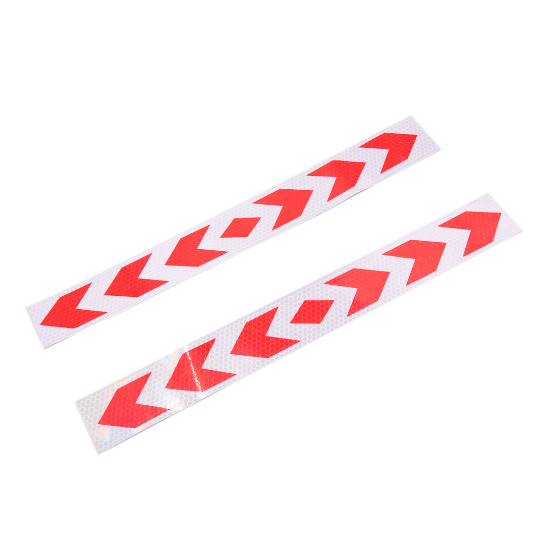 2Pcs Red White Arrows Pattern Car Reflective Sticker Safety Warning Tape Decals