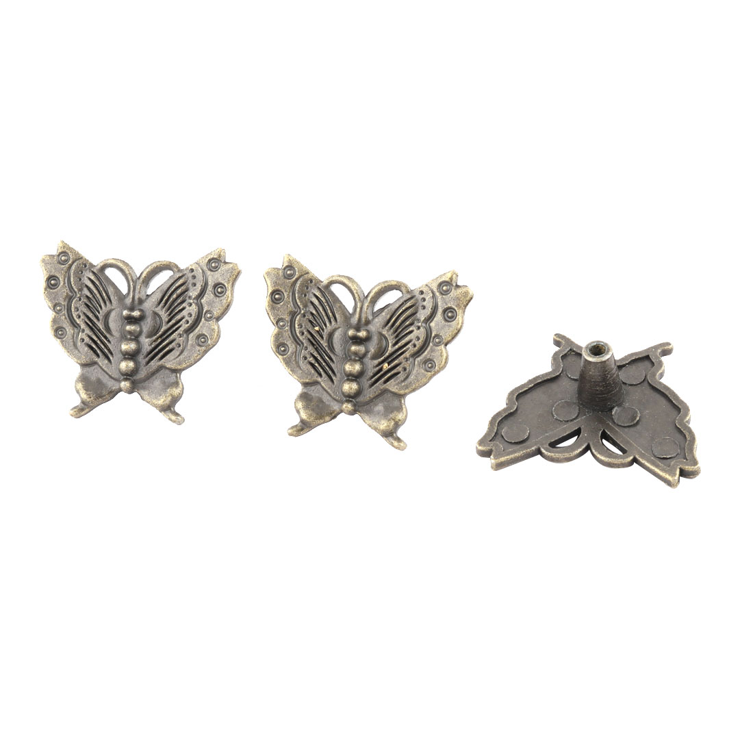 Home Butterfly Vintage Style Drawer Cabinet Pull Knob Handle Bronze Tone 3pcs