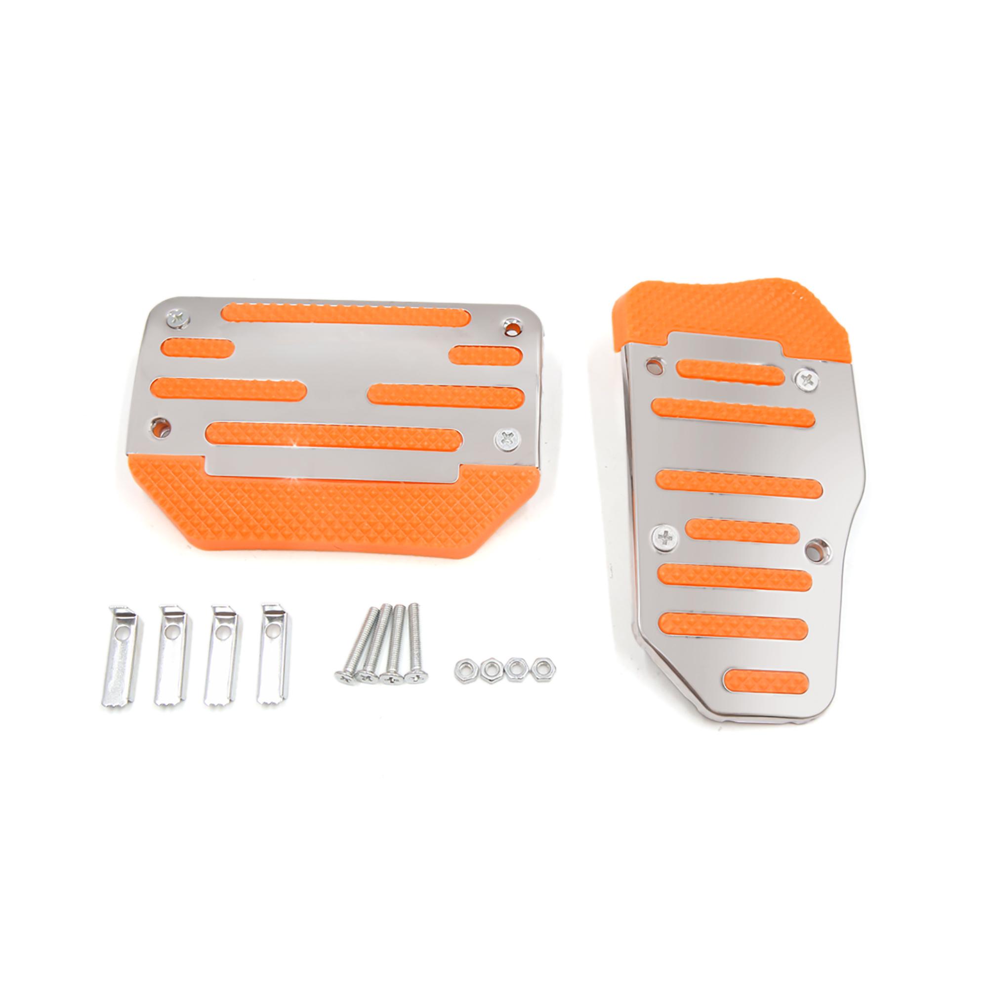 2 in 1 Non-Slip Automatic Car Gas Brake Pedal Pads Cover Orange