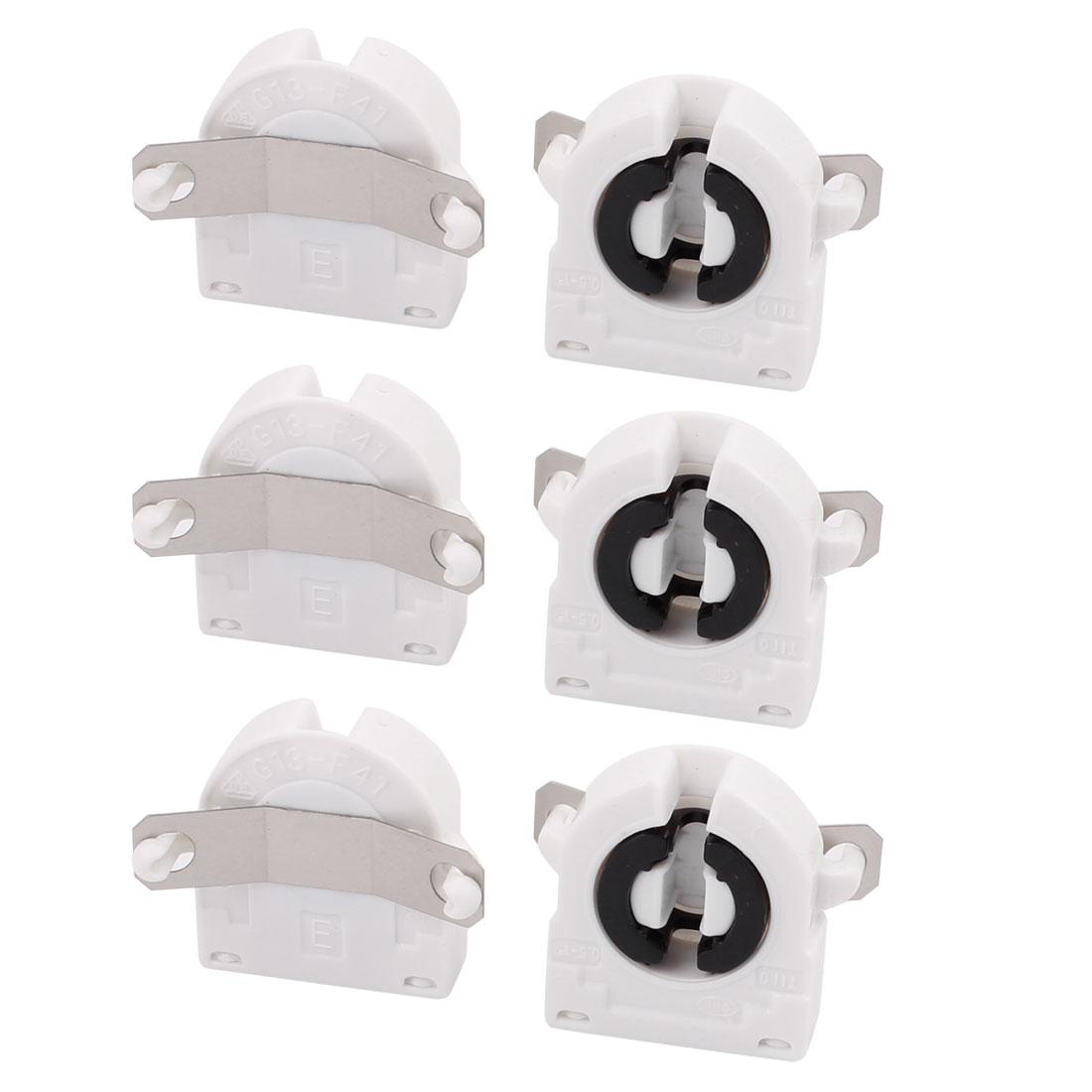 6 Pcs AC500V 2A G13-F41A T8 Light Socket G13 Base Fluorescent Lamp Holder White