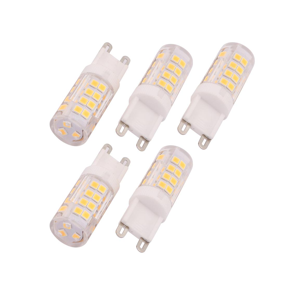 5Pcs G9 AC220V 51 LEDs 2835SMD COB LED Silicone Corn Light Bulb Warm White