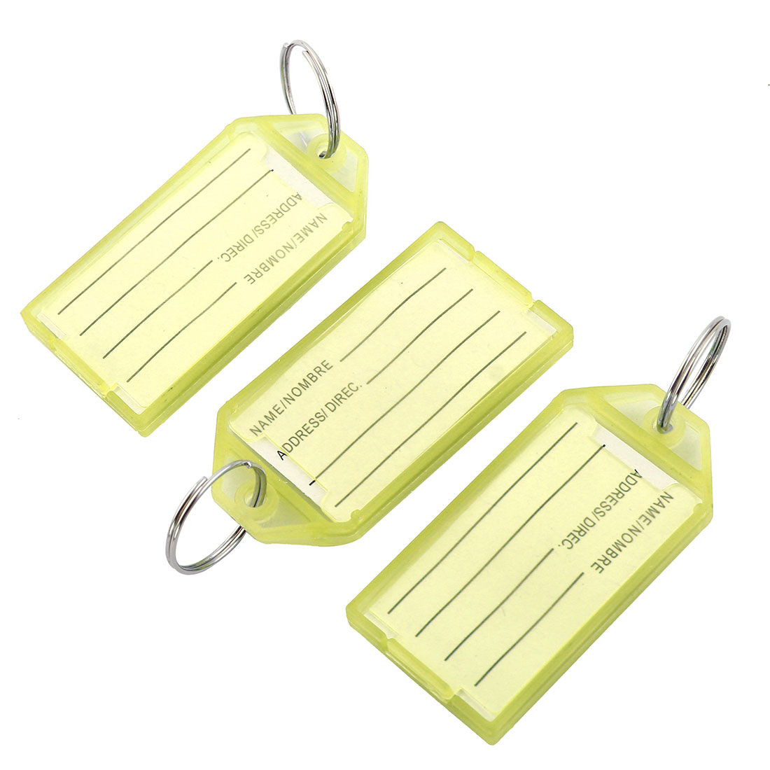 Travel Outdoor Plastic Rectangle Shaped Suitcase Luggage Tag Baggage Label Keyring Yellow 3pcs