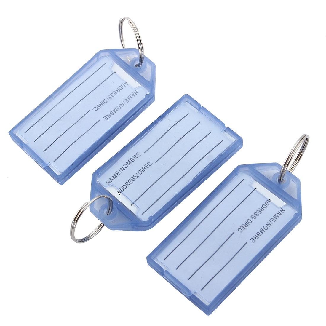 Travel Outdoor Plastic Rectangle Shaped Suitcase Luggage Tag Baggage Label Keyring Blue 3pcs