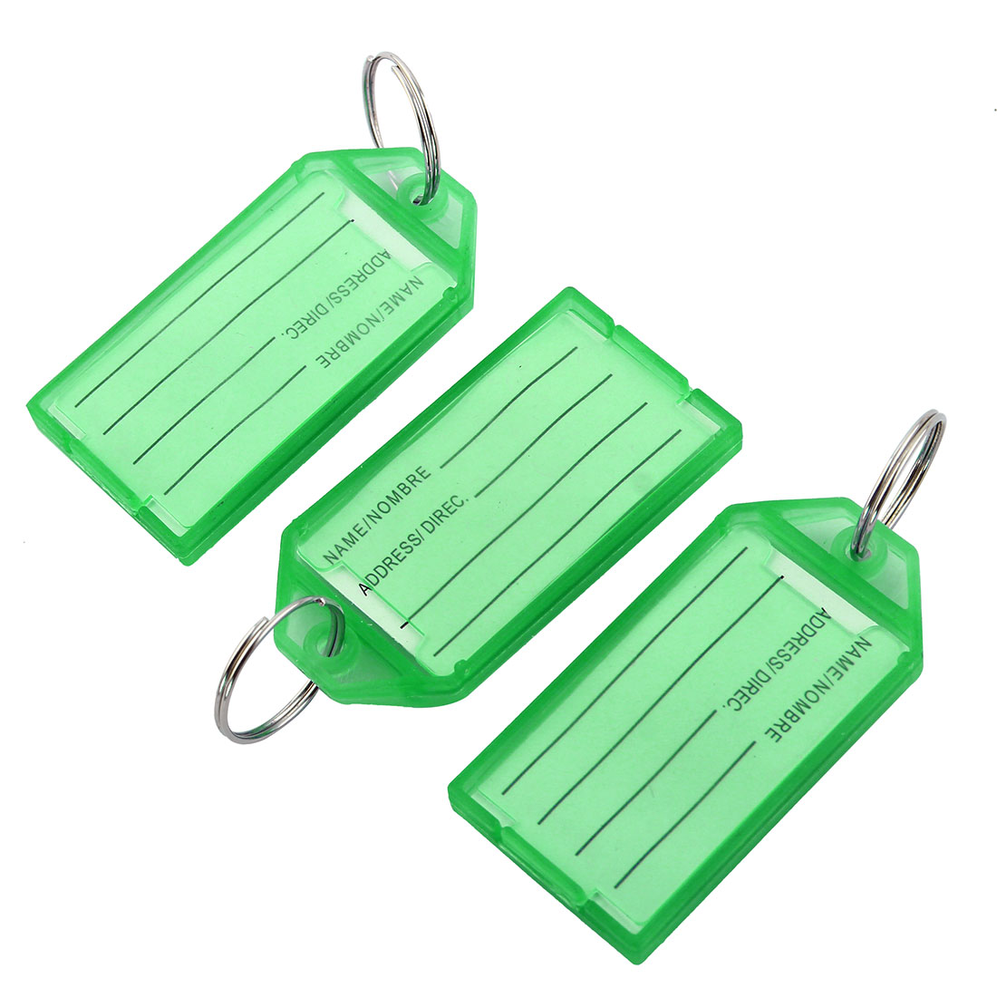 Travel Outdoor Plastic Rectangle Shaped Suitcase Luggage Tag Baggage Label Keyring Green 3pcs